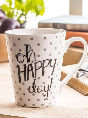 KUBEK PORCELANOWY  HAPPY DAY BIAŁY 350 mL